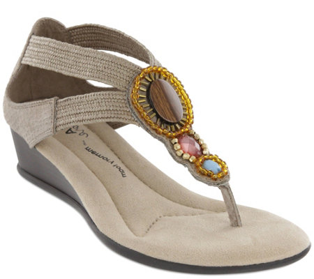 MIA Amore Beaded Wedge Sandals - Baylee