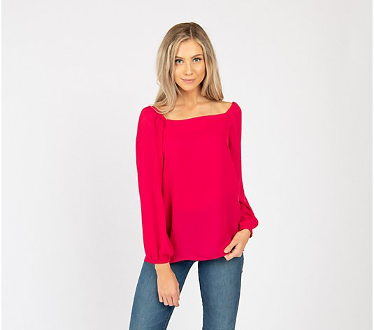Gibson Look Woven Square-Neck Blouse