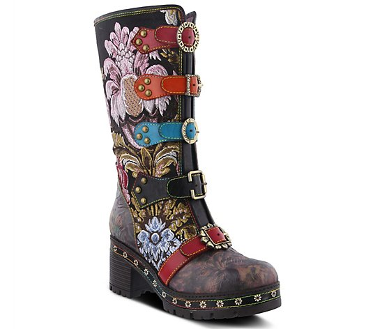 L'Artiste Floral Embroidered Leather Boots w/ Straps - Brazen