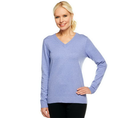 Denim & Co. Essentials Long Sleeve V-neck Sweater