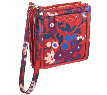 Emma & Sophia Printed Leather Ally Wallet Wristlet