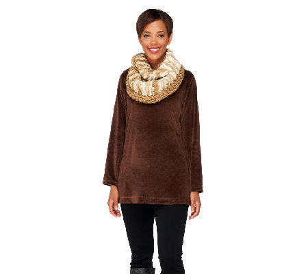 728c7ad8f Collection 18 Two-Tone Knit Faux Fur Infinity Scarf - Page 1 — QVC.com