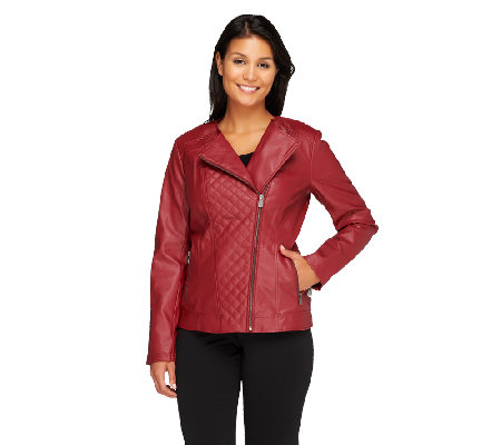 Lisa Rinna Collection Quilted Motorcycle Jacket