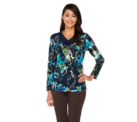 Susan Graver Printed Liquid Knit Top with Sheer Chiffon V-Neck Detail