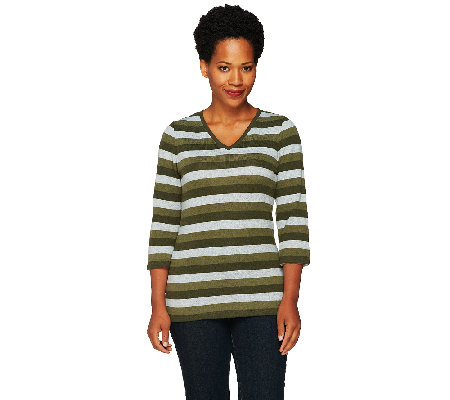 """As Is"" Denim & Co. Heavenly Jersey Striped V-Neck Top"