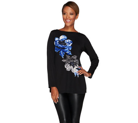 Susan Graver Artisan Placement Print Liquid Knit Long Sleeve Top