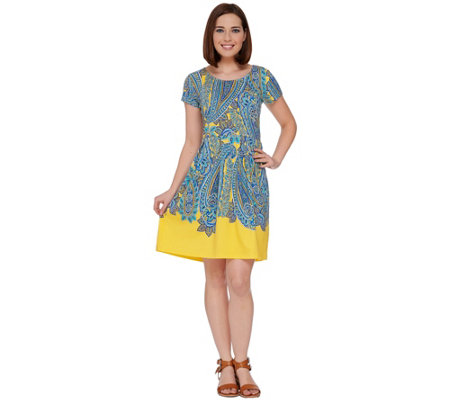 Isaac Mizrahi Live! Engineered Printed Paisley Dress