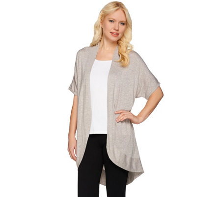 H by Halston Short Sleeve Open Front Cardigan