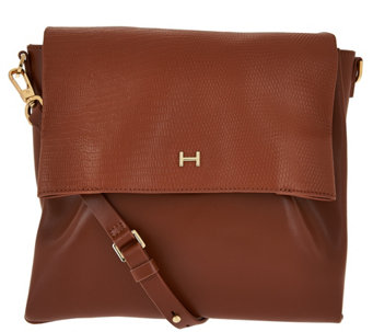 7eab39b59905 H by Halston Lizard Embossed and Smooth Leather Crossbody Bag - A276515