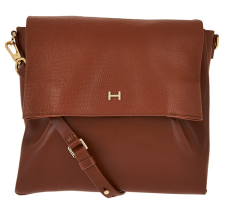 H by Halston Lizard Embossed and Smooth Leather Crossbody Bag