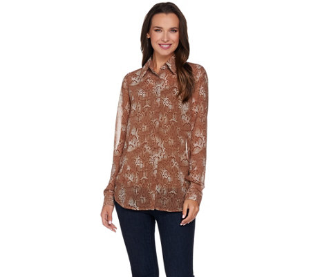 G.I.L.I. Long Sleeve Button Front Printed Blouse