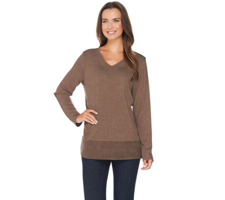 Kelly by Clinton Kelly Sweater Knit Top with Faux Suede Trim