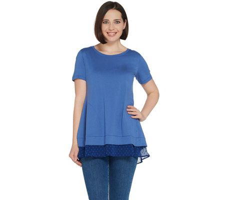 LOGO by Lori Goldstein Top w/ Two-Tone Swiss Dot Chiffon Hem