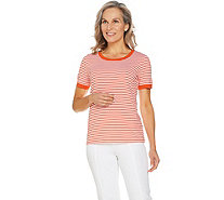 Susan Graver Weekend Striped Stretch Cotton Modal Top - A289415