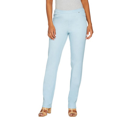 H by Halston Regular Studio Stretch Straight Leg Pull-on Pants