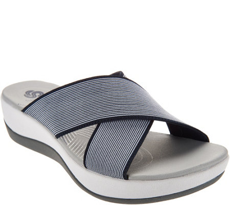 CLOUDSTEPPERS by Clarks Cross Band Slide Sandals - Arla Elin
