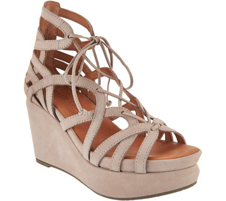 Gentle Souls Leather Lace-up Wedge Sandals - Joy