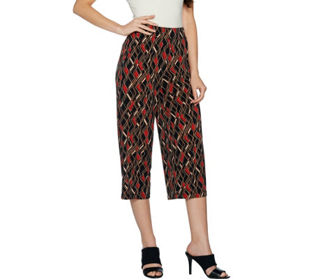 Susan Graver Printed Liquid Knit Wide Leg Crop Pants