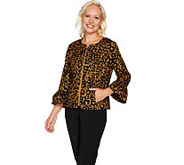 C. Wonder Animal Print Stretch Pique Bell Sleeve Jacket - A293515