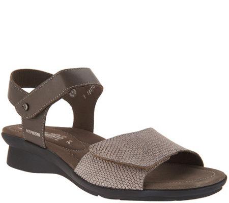 Mephisto Leather Double Strap Wedges Pattie