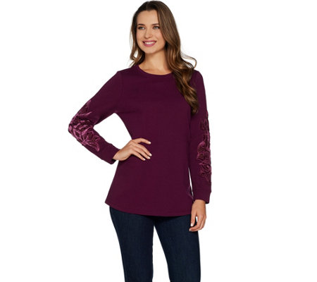Studio by Denim & Co. French Terry Pullover Top w/ Velvet Detail
