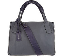 Plinio Visona Italian Leather Colorblock Satchel Handbag - A301015
