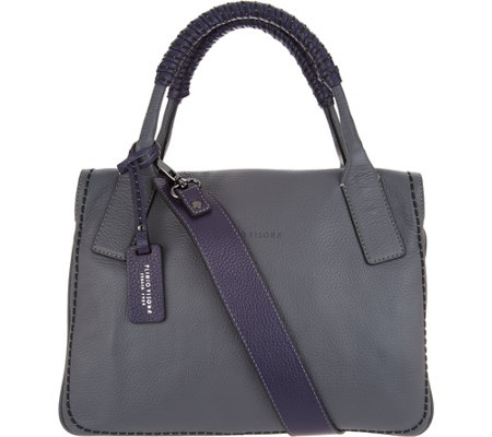 Plinio Visona Italian Leather Colorblock Satchel Handbag