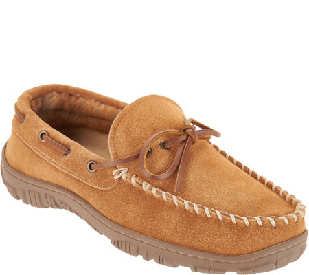 hot-seeling original clear and distinctive outlet online Clarks Suede Men's Moccasin Slippers — QVC.com