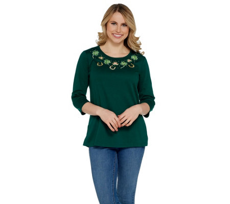 Quacker Factory 3/4 Sleeve Spring Holiday Knit T-Shirt w/ Cut-out Detail