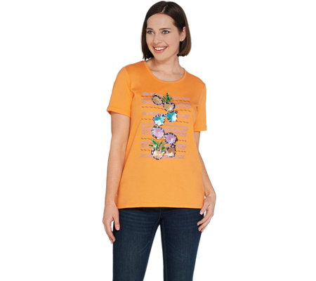 Quacker Factory Summer Splash Embellished Short Sleeve Knit T-Shirt