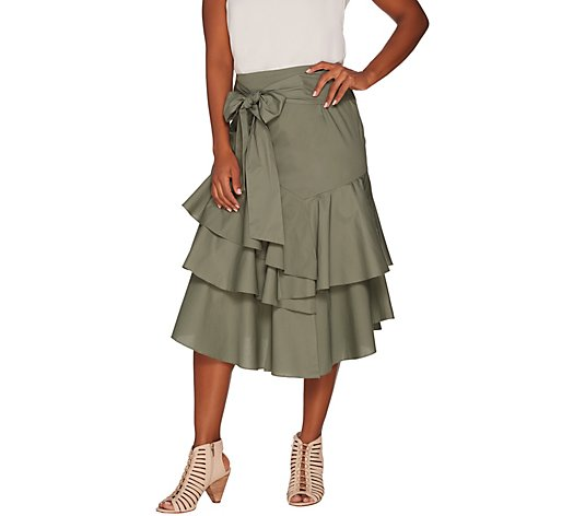 """As Is"" Vince Camuto Ruffle Ruffle Belted Poplin Skirt"