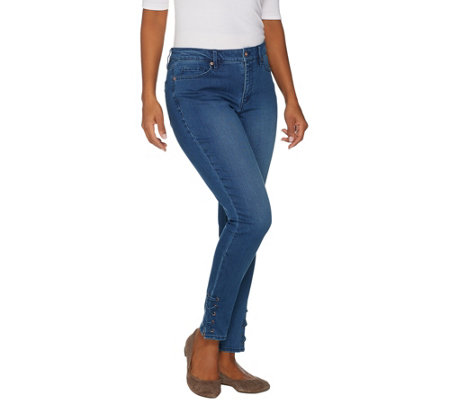 Martha Stewart Regular 5 Pocket Ankle Jeans W Lace Up Detail