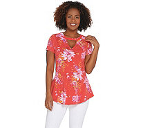 Isaac Mizrahi Live! Floral Printed Knit Peplum Top with Keyhole - A308015