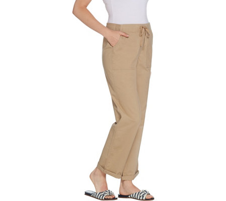 Martha Stewart Regular Stretch Canvas Pull-On Pants with Drawstring