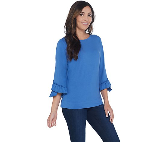 Denim & Co. Boatneck 3/4-Bell Sleeve Top w/ Ruffle Cuffs