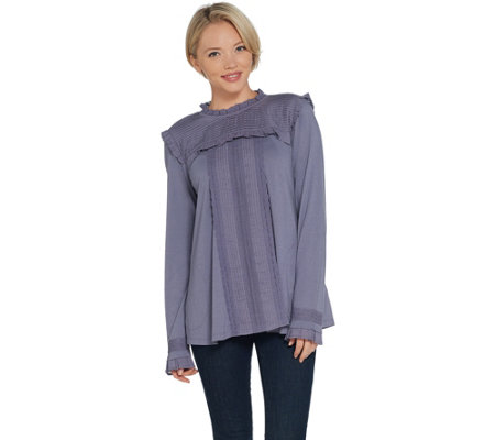 LOGO by Lori Goldstein Cotton Modal Top with Swiss Dot Details