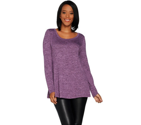 """As Is"" H by Halston Super Soft Knit Long Sleeve Swing Tunic"