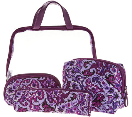 """As Is"" Vera Bradley Iconic Signature Print Four Piece Cosmetic Set"