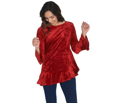 Linea by Louis Dell'Olio Crushed Velvet Top with Ruffle Detail