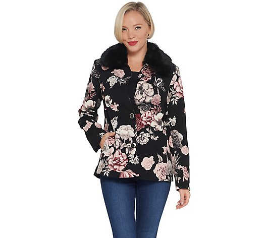 Dennis Basso Printed Luxe Crepe Jacket with Faux Fur Collar