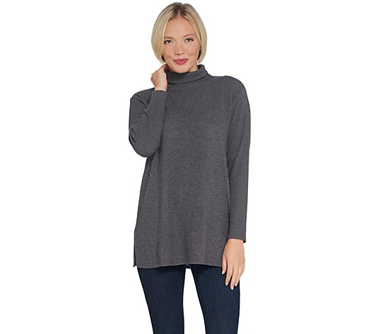 Lisa Rinna Collection Brushed Hacci Mock-Neck Top w/ Back Detail
