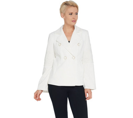 Dennis Basso Luxe Crepe Jacket with Lace Applique Trim