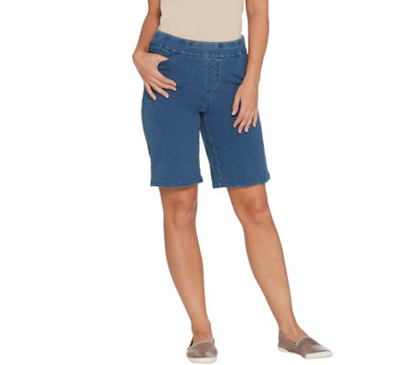 As Is Denim Co Comfy Knit Smooth Waist Pull On 5 Pocket Shorts
