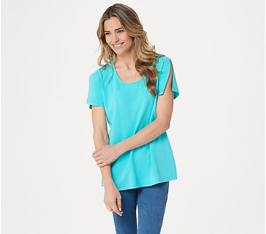 Belle by Kim Gravel TripleLuxe Knit Split-Sleeve Top
