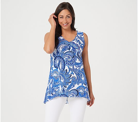 Susan Graver Printed Liquid Knit Sleeveless Top with Peplum