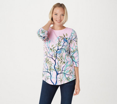Quacker Factory Printed Tunic with Embroidered Bird Detail