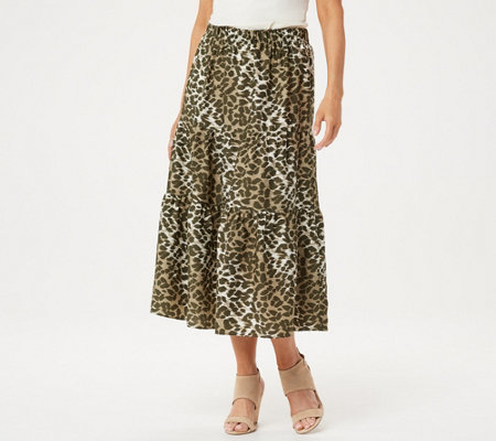 H by Halston Animal Printed Washed Satin Pull-on Midi Skirt