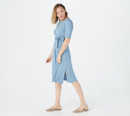 Cuddl Duds Flexwear Draped Tie Front Dress
