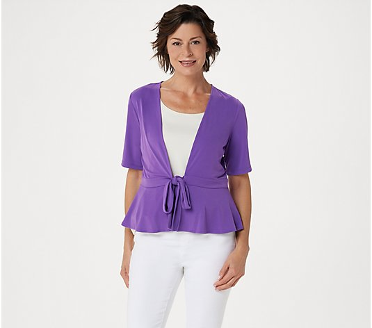 """As Is"" Every Day by Susan Graver Liquid Knit Short Sleeve Shrug"