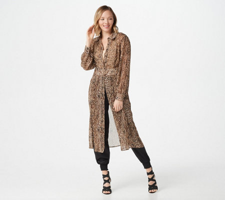G.I.L.I. Solid or Printed Chiffon Duster with Side Slits